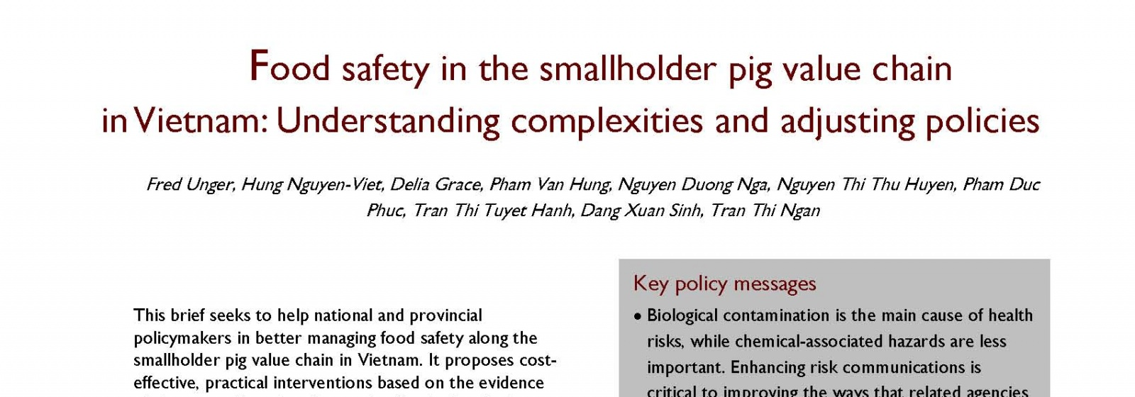 ILRI policy brief on food safety in the smallholder pig